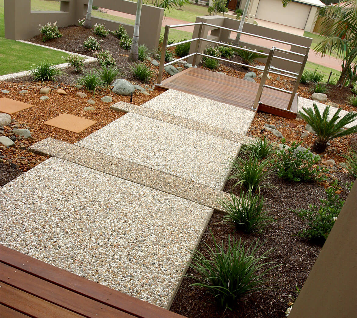 Exposed Pebble concrete footpath using different coloured aggregates