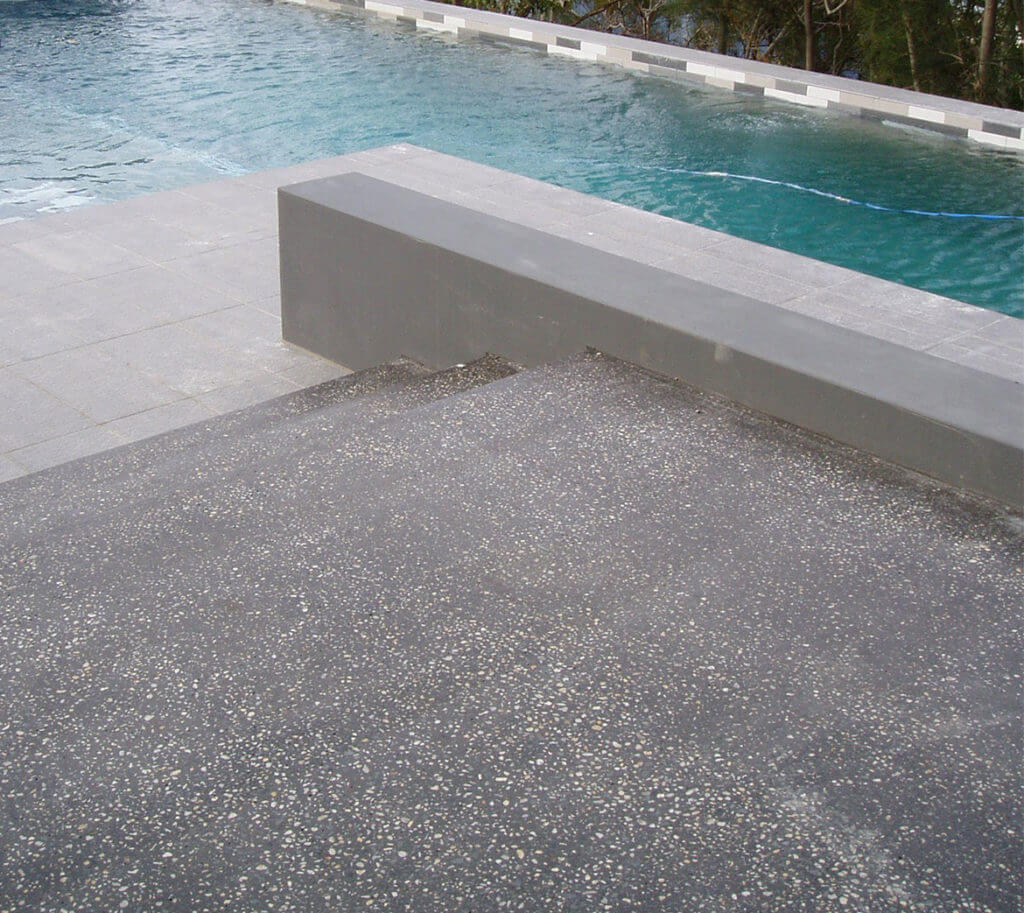 Honed concrete steps in Voodoo 87
