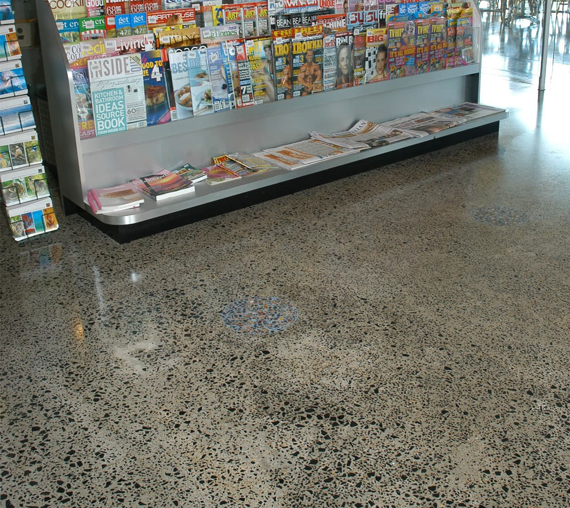 Polished concrete floor in cafe