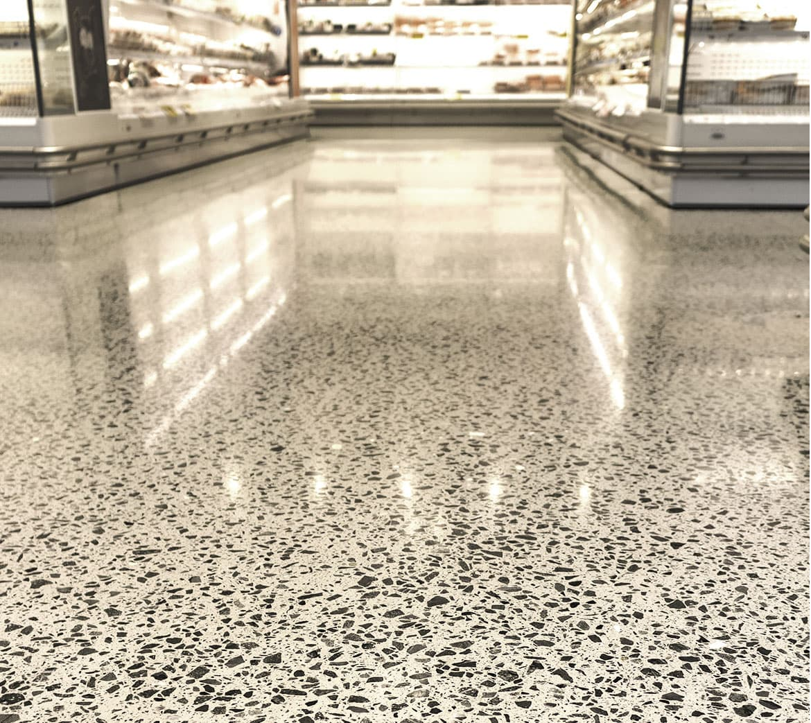 Polished concrete used in a grocery store