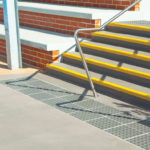 Yellow used on stair edge for safety
